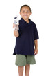 Happy mixed race boy with bottle of water on white background