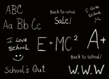 Selection of Back to school phrases on black background poster