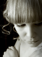 beatiful pensive girl portrait