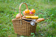 Close-up of basket with fruits and bread on it