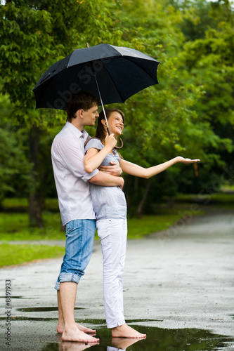 Silhouettes Of Woman, Man, Children, Family Under Umbrella Cover