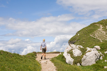 female hiking in the alps, slovenia