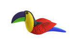 A Isolated Brightly colored handcarved wooden toucan
