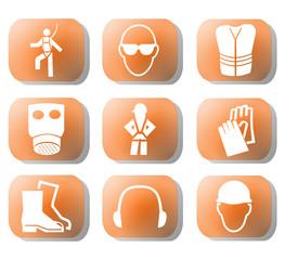 construction safety symbols on orange buttons illustration
