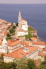 Piran with the St George church, Slovenia