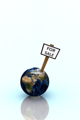 Earth for sale illustration over bright glossy background