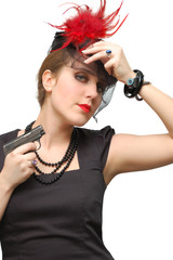 Beautiful girl with gun isolated over a white background