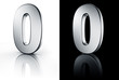 3d rendering of the number 0 in brushed metal