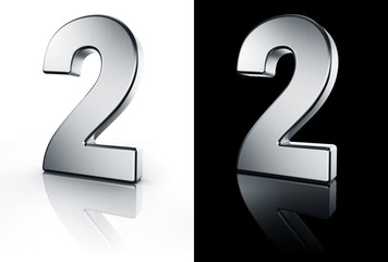 3d rendering of the number 2 in brushed metal