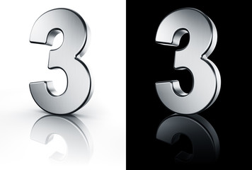 3d rendering of the number 3 in brushed metal