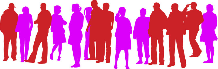 large group of casual people silhouette