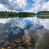 norwegian lake, golden stones, square composition poster