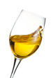 Isolated moving white wine glass over white background