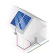 Schema Solaranlage auf einem Hausdach Fotovoltaik