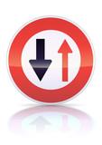 Cédez le passage à la circulation en face (reflet métal) poster