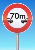 Interdiction aux véhicules de circuler sans un intervalle poster