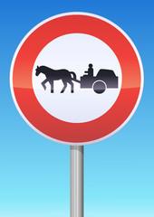 Accès interdit aux véhicules à traction animale