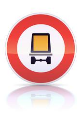 Accès interdit véhicules marchandises dangereuses (reflet métal)