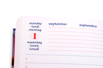 calendar notebook on white background