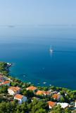 Sail boat on Adriatic sea scene, Croatia poster