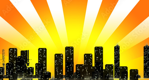 Cityscape Skyline with Sun Rays Overshadowing in Orange