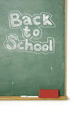 old chalkboard with the phrase Back to school written on it poster