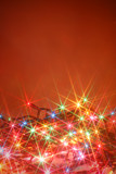 colorful twinkling christmas lights background with copyspace poster