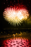 Night time Chicago lakefront independence day fireworks poster