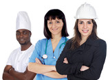 multiracial group of workers on a white background poster