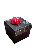 3d black gift box with silver graphic flowers print & red ribbon