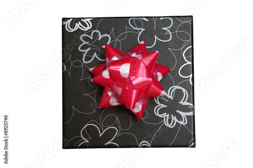 Poster 2d black gift box with silver graphic flowers print & red ribbon
