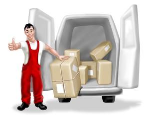 corriere con furgone