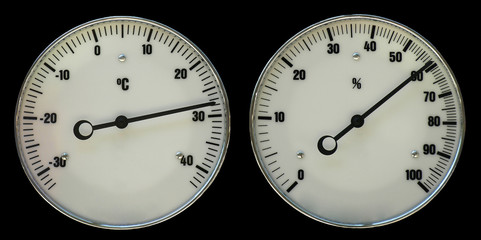 Thermometer and hydrometer isolated on black