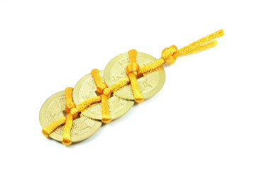 Chinese Lucky Coin Charm with Yellow Ribbon String