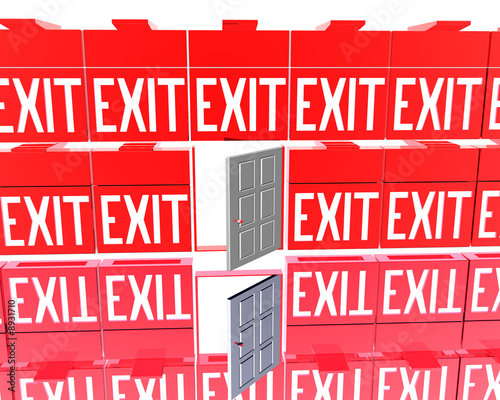 3D exit red signs isolated on a white background