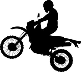 Man on a Jumping Dirtbike Silhouette