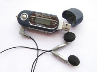 mp3 audio portable player with earphones or earbuds