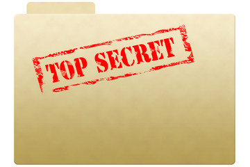Secret document folder with top secret printed on face