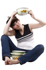 The mad housewife with saucepan. funny picture 2