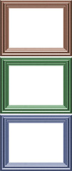 Set of three coloured Frames - with isolated clipping area