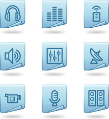 Media icons, blue sticker series