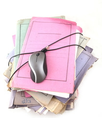 Isolated stack of folders with computer mouse