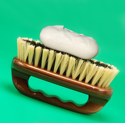 Brush for cleaning. The wooden handle, a natural bristle
