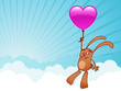 Bunny with heart balloon background