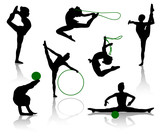 Silhouettes of gymnasts with various sports subjects