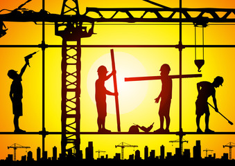 Construction surveyor and construction site background