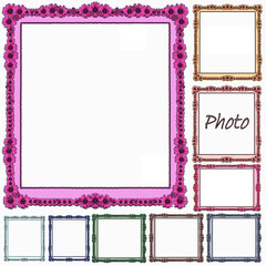 Multi colour Floral coated frame set - isolated clipping area