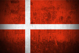 Weathered Flag Of Kingdom of Denmark, fabric textured.. poster