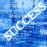 success, written on a blue background with bits and bytes poster