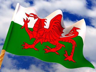 Flag. Wales. 3d